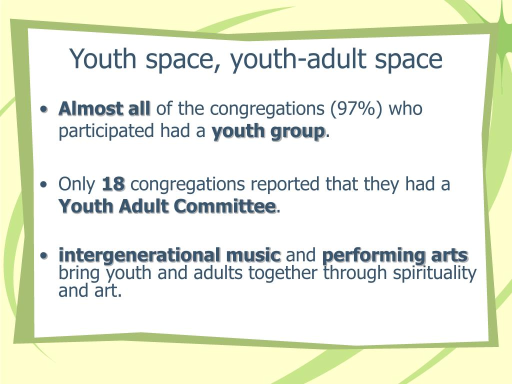 Youth space, youth-adult space