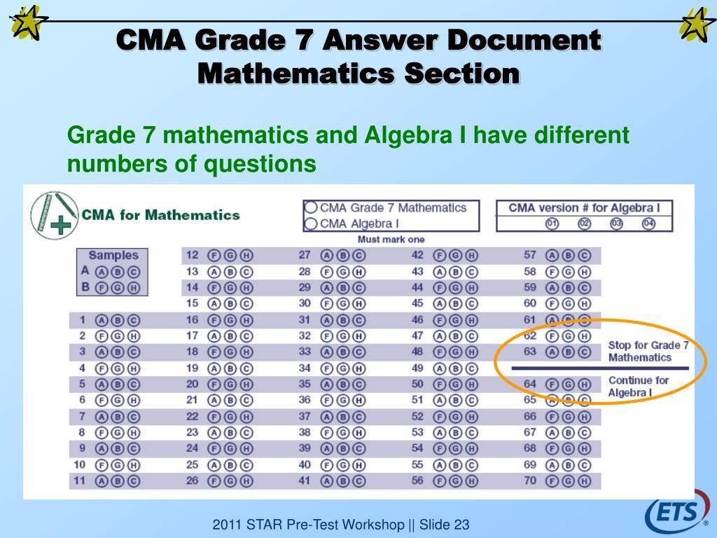 CMA Grade 7 Answer Document