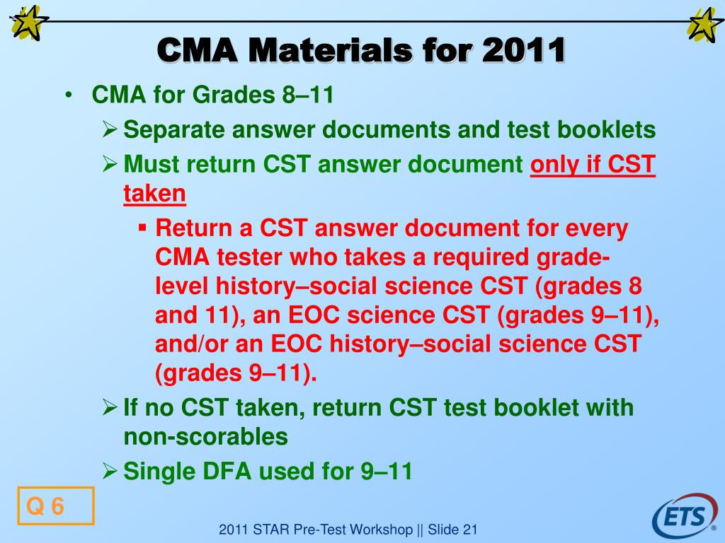 CMA Materials for 2011