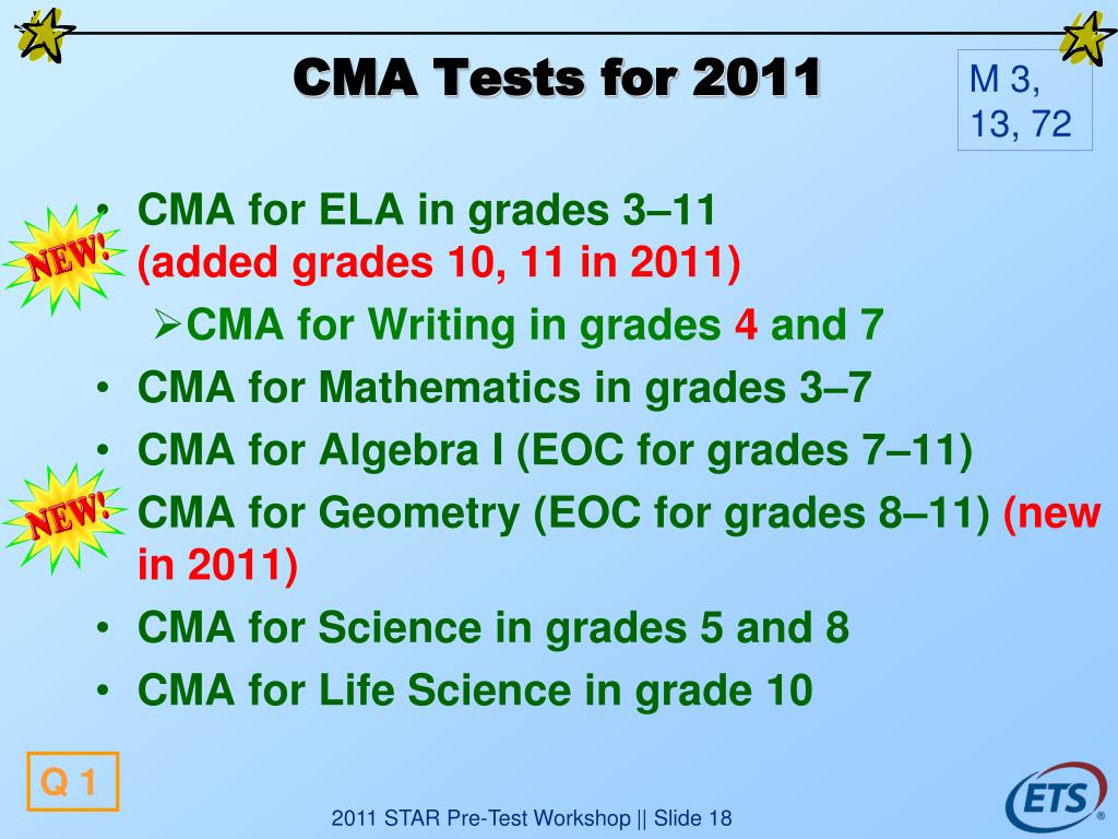 CMA Tests for 2011