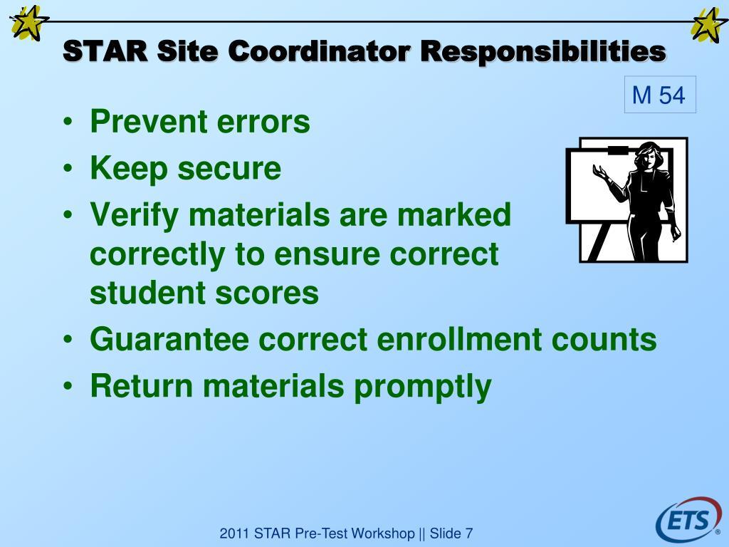 STAR Site Coordinator Responsibilities