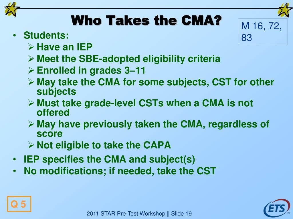 Who Takes the CMA?