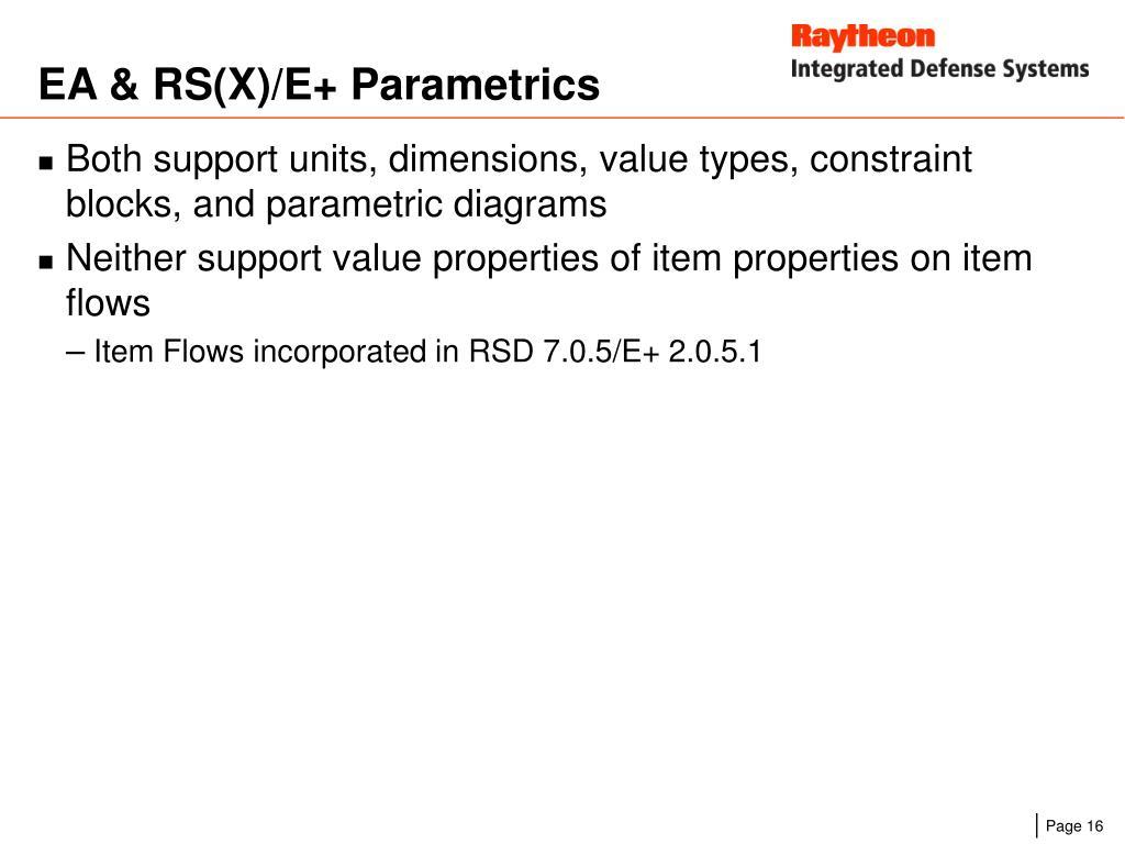 EA & RS(X)/E+ Parametrics