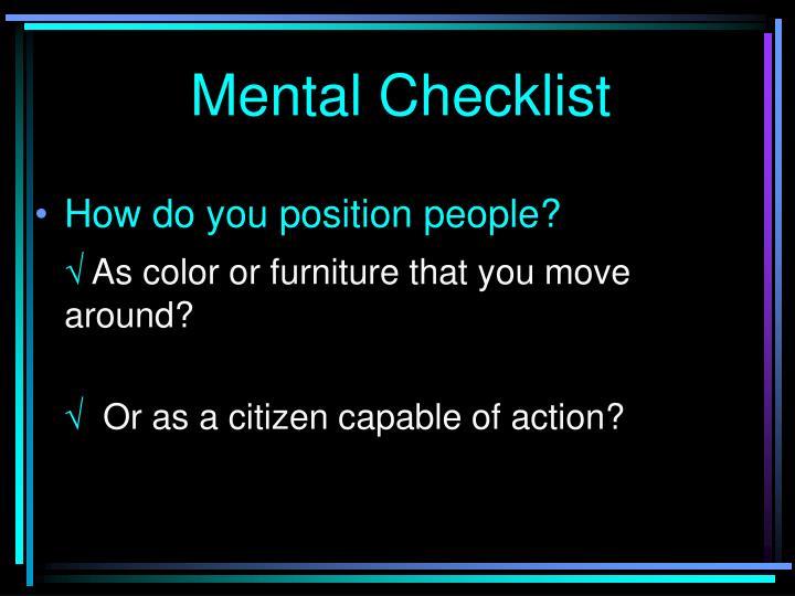 Mental Checklist