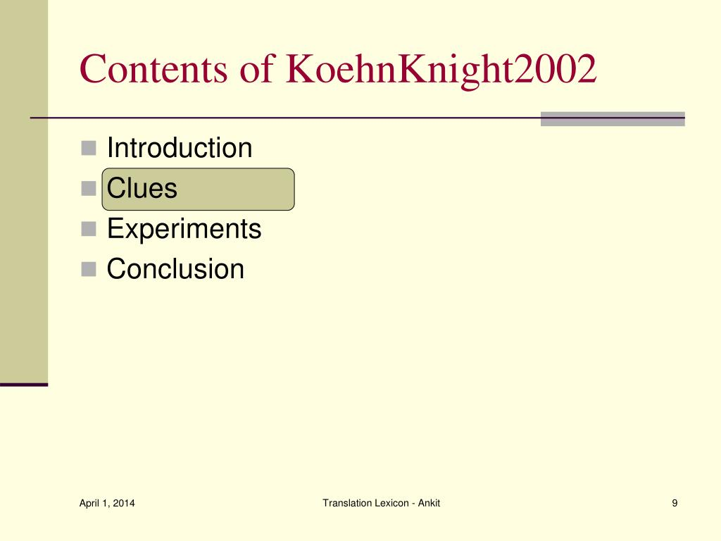Contents of KoehnKnight2002