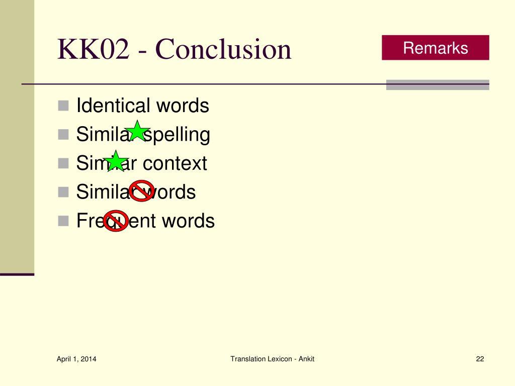 KK02 - Conclusion
