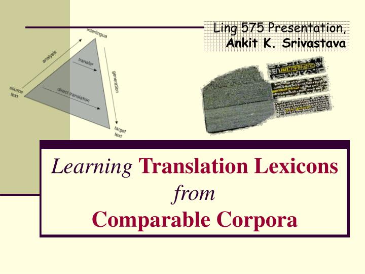Learning translation lexicons from comparable corpora