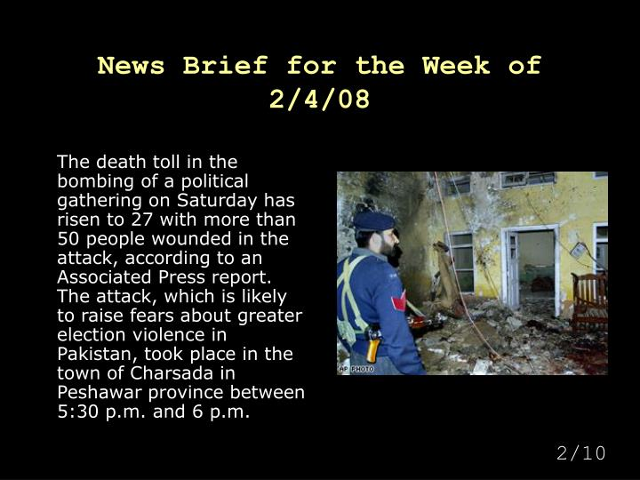 News Brief for the Week of 2/4/08