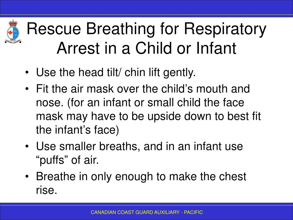 Rescue Breathing for Respiratory Arrest in a Child or Infant