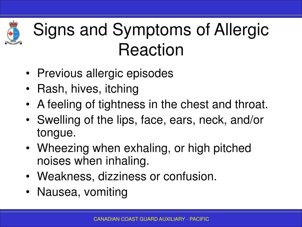 Signs and Symptoms of Allergic Reaction