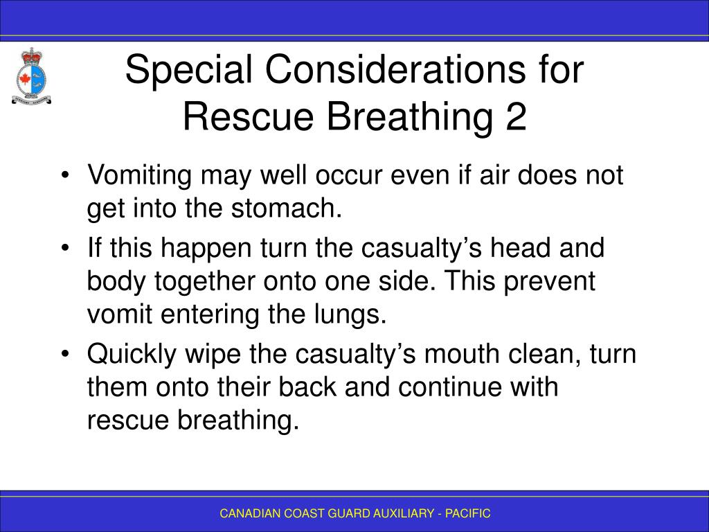 Special Considerations for Rescue Breathing 2