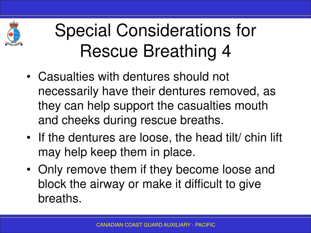 Special Considerations for Rescue Breathing 4
