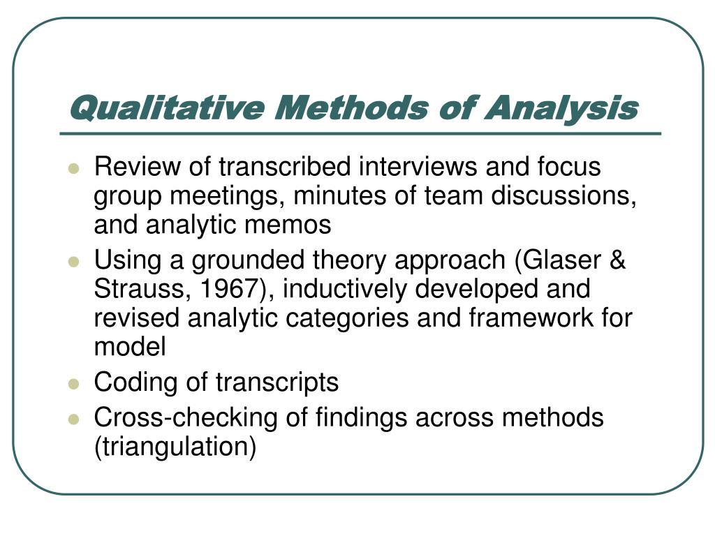 Qualitative Methods of Analysis