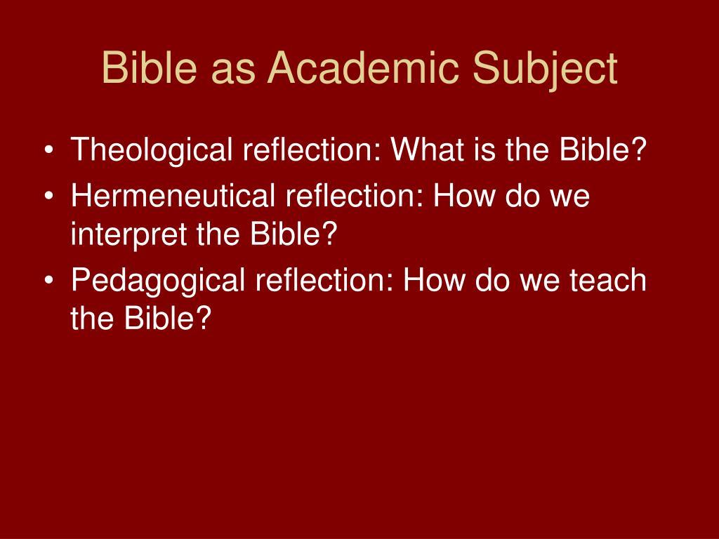 Bible as Academic Subject
