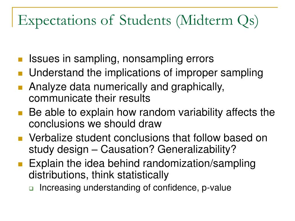 Expectations of Students (Midterm Qs)