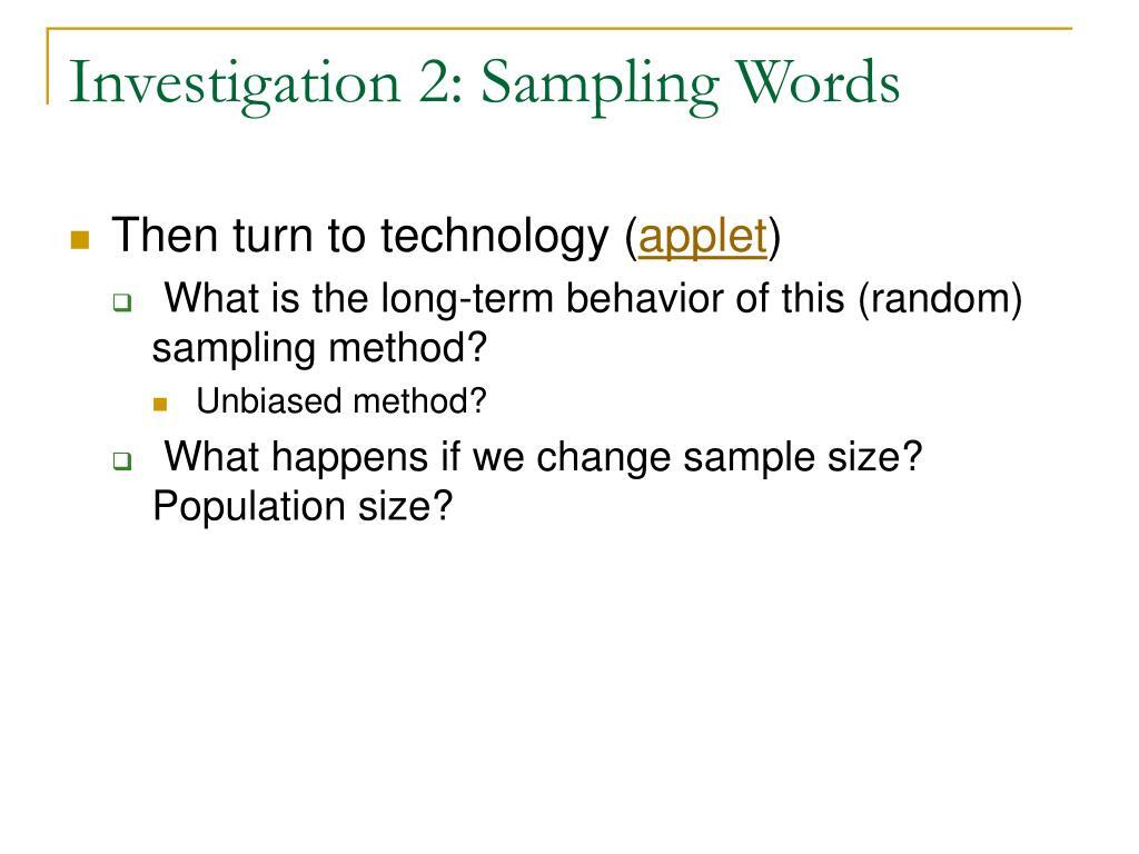 Investigation 2: Sampling Words