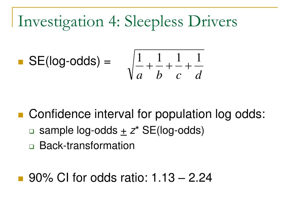 Investigation 4: Sleepless Drivers