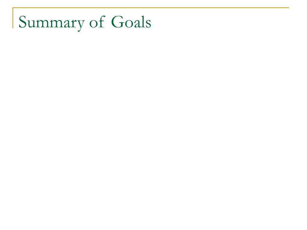 Summary of Goals