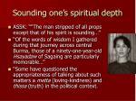sounding one s spiritual depth