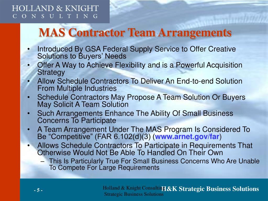 MAS Contractor Team Arrangements