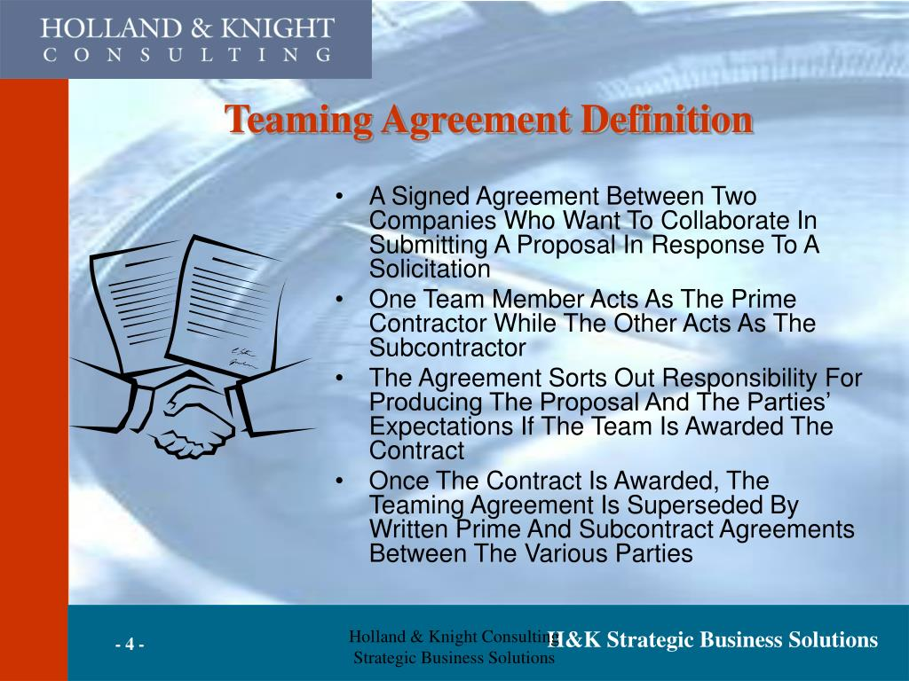 Teaming Agreement Definition