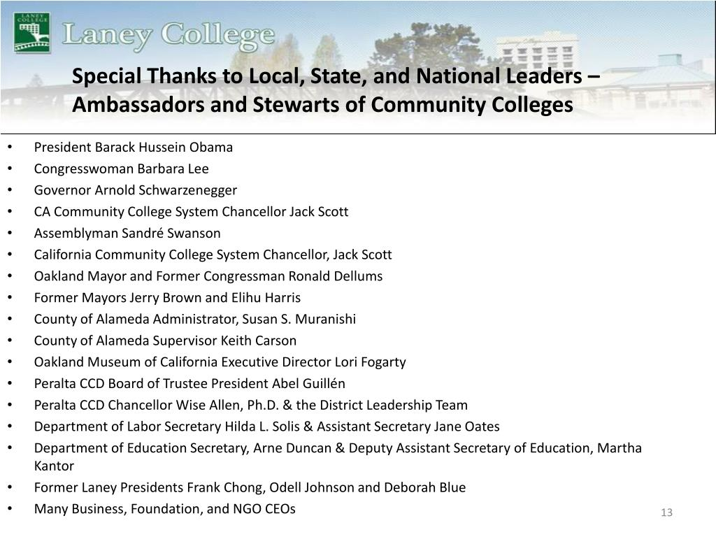 Special Thanks to Local, State, and National Leaders – Ambassadors and Stewarts of Community Colleges