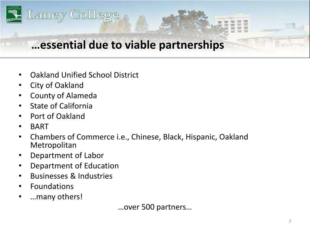 …essential due to viable partnerships