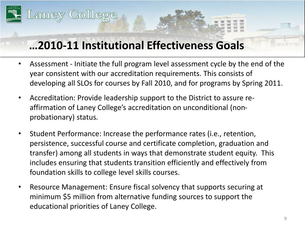…2010-11 Institutional Effectiveness Goals