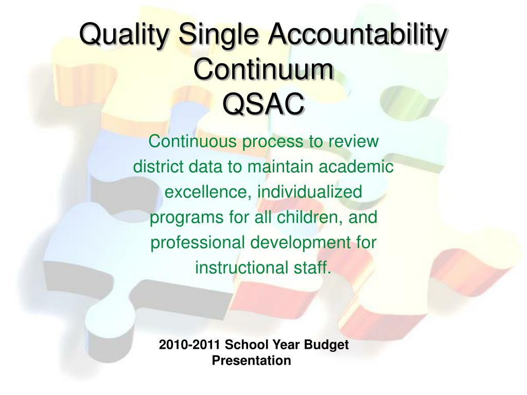 Quality Single Accountability Continuum