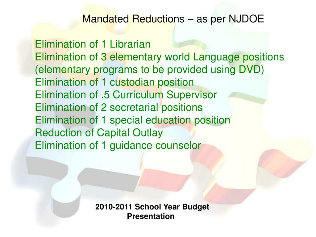 Mandated Reductions – as per NJDOE