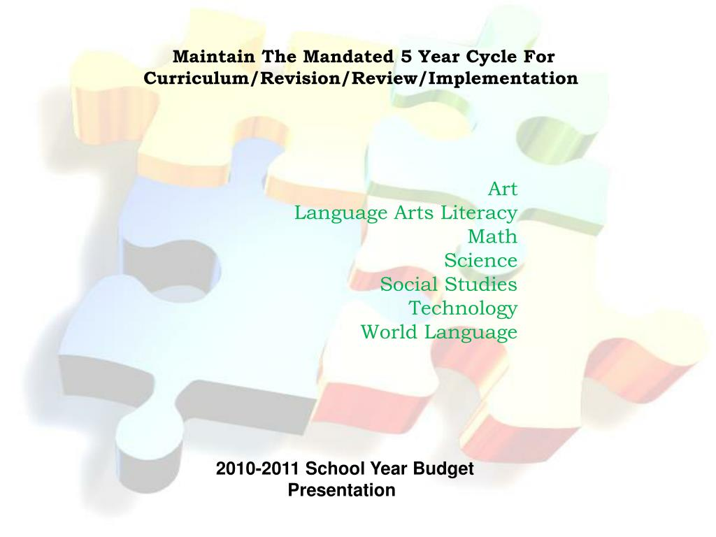 Maintain The Mandated 5 Year Cycle For       Curriculum/Revision/Review/Implementation
