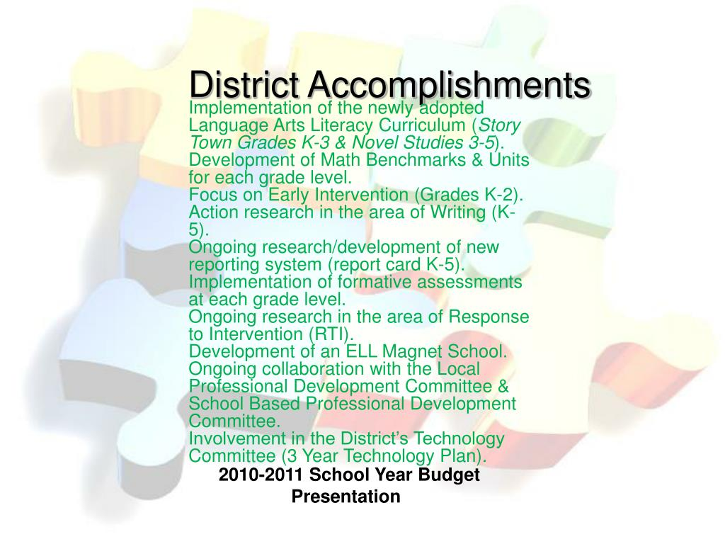 District Accomplishments