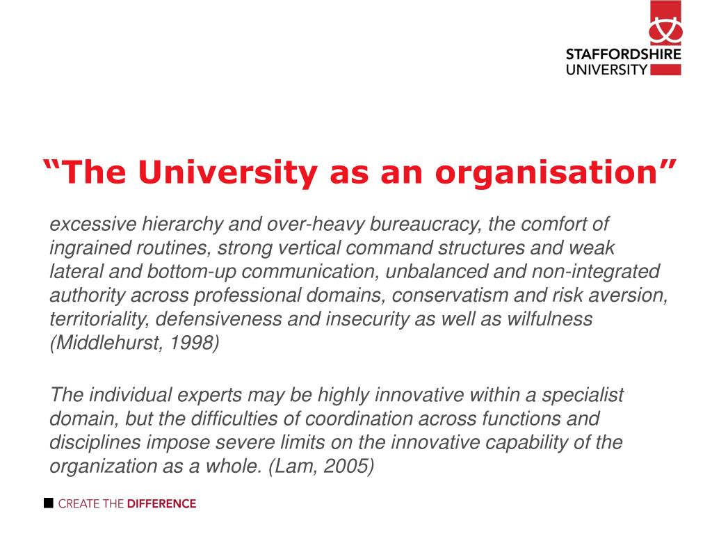 """The University as an organisation"""