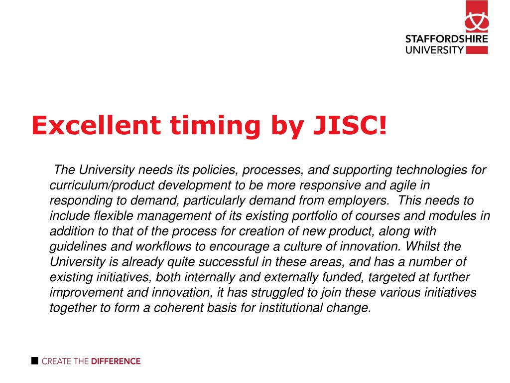 Excellent timing by JISC!