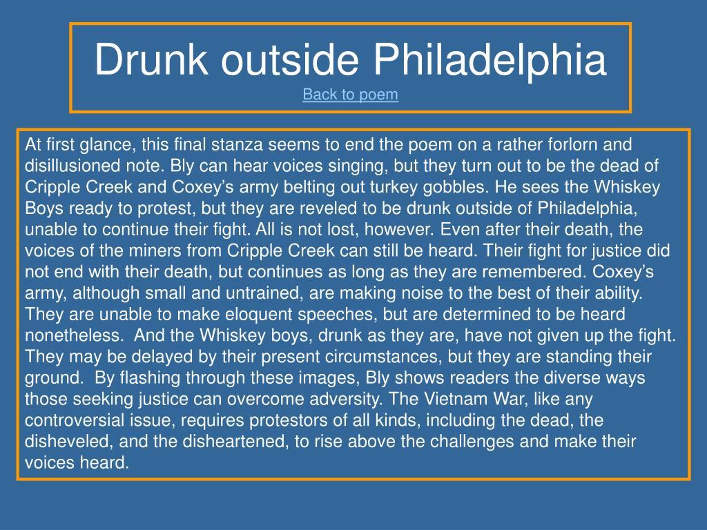 Drunk outside Philadelphia