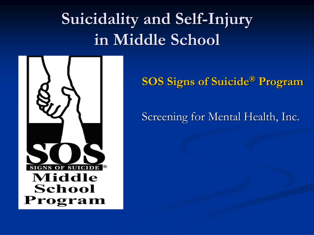 suicidality and self injury in middle school