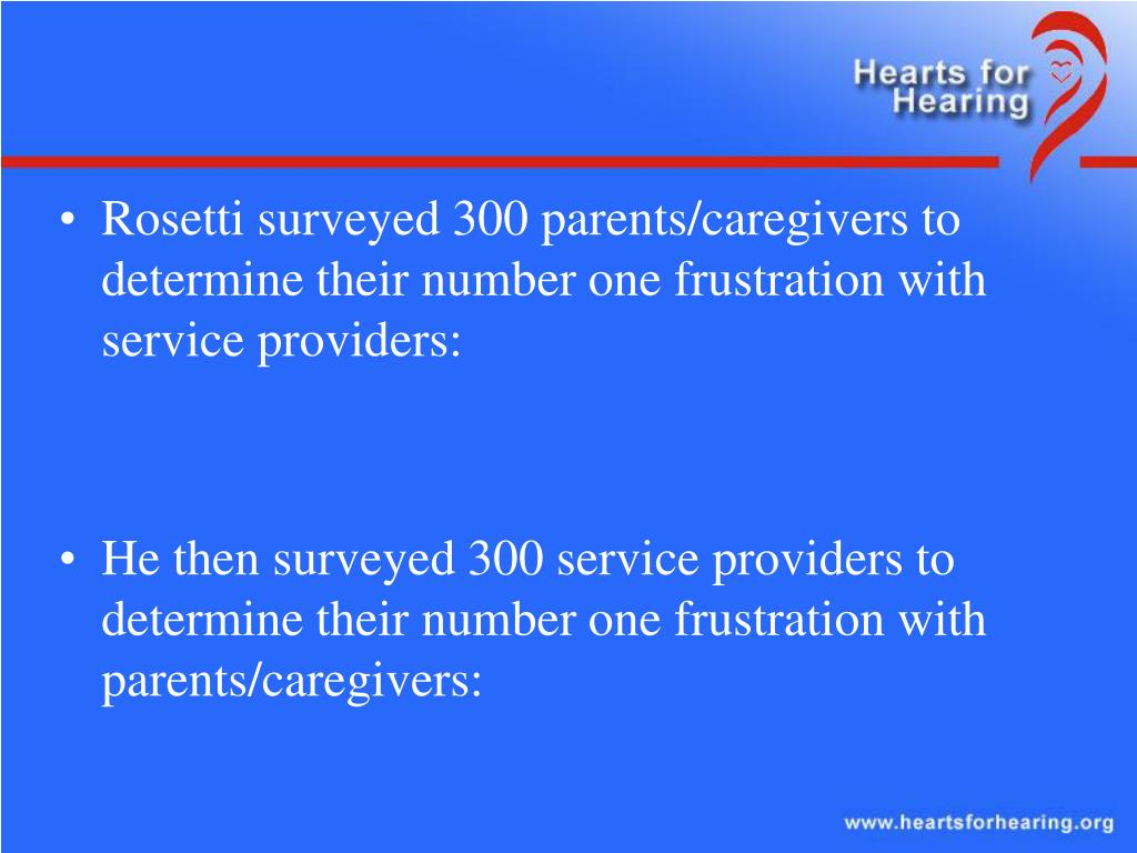 Rosetti surveyed 300 parents/caregivers to determine their number one frustration with service providers: