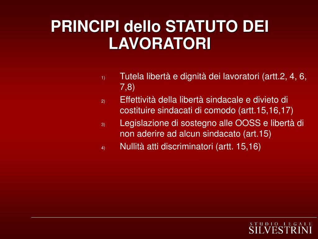 PRINCIPI dello STATUTO DEI LAVORATORI