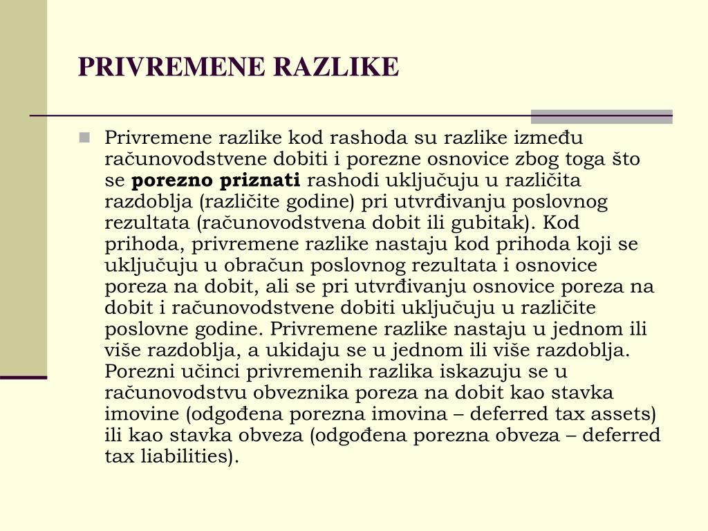 PRIVREMENE RAZLIKE