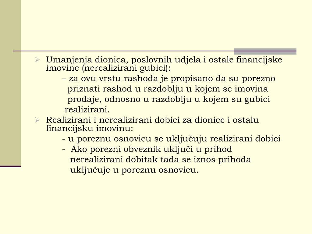 Umanjenja dionica, poslovnih udjela i ostale financijske imovine (nerealizirani gubici):