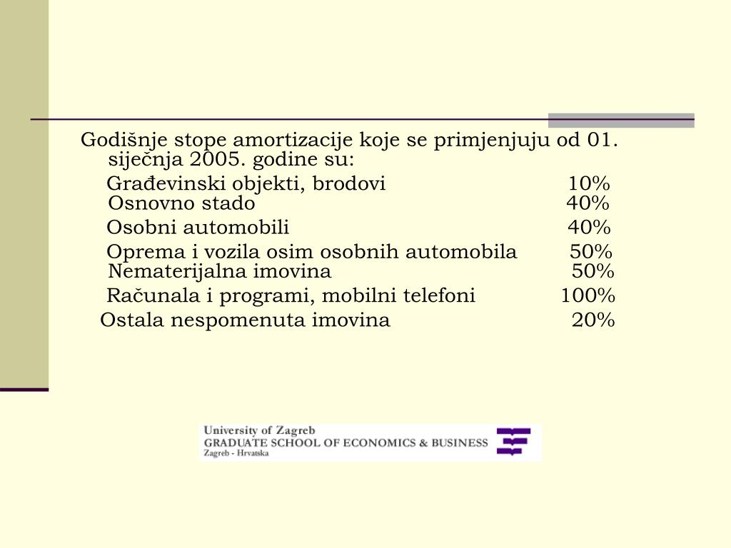 Godišnje stope amortizacije koje se primjenjuju od 01. siječnja 2005. godine su: