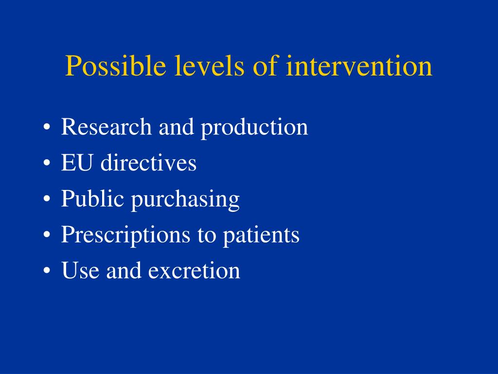 Possible levels of intervention