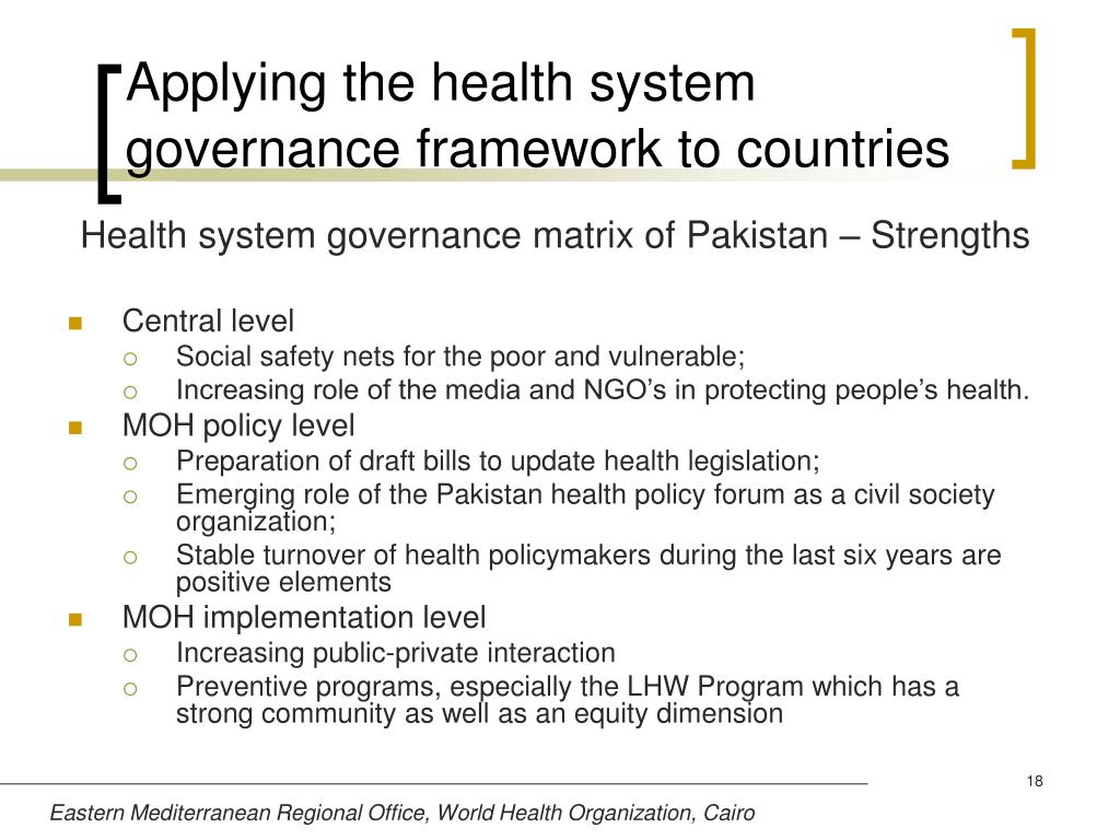 Applying the health system governance framework to countries