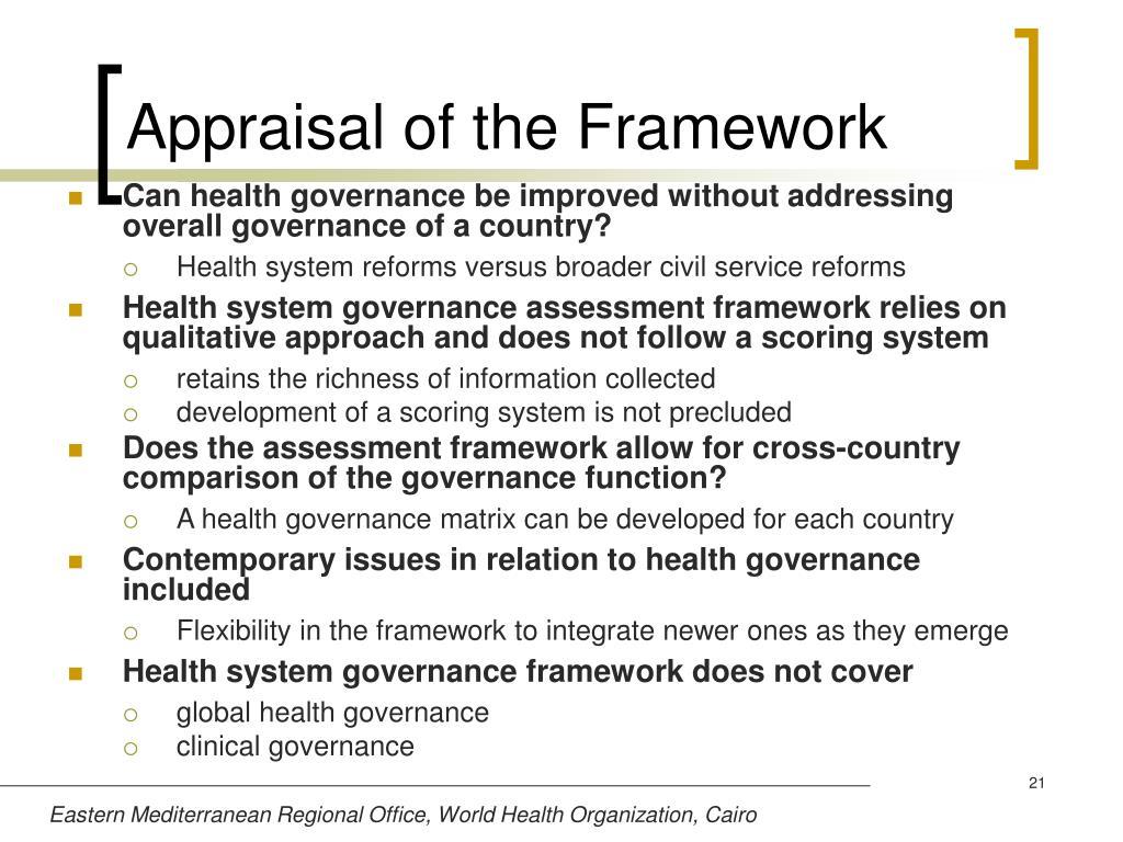 Appraisal of the Framework