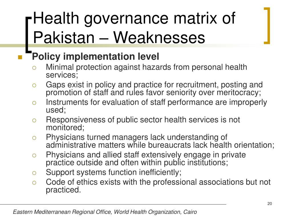 Health governance matrix of Pakistan – Weaknesses