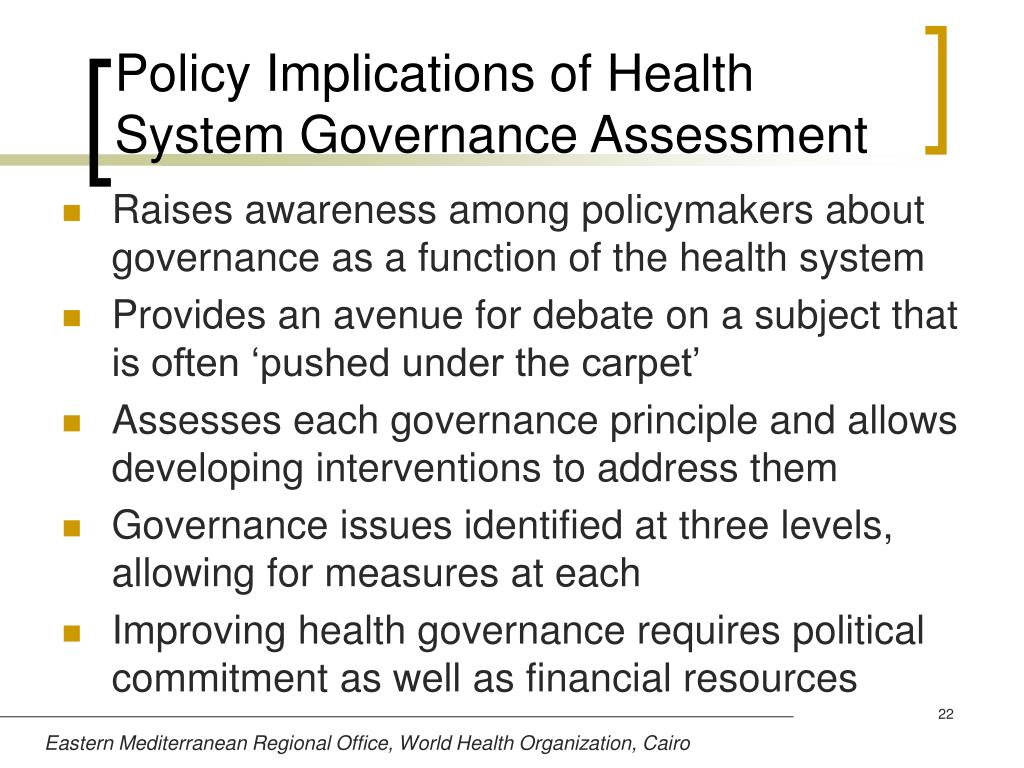 Policy Implications of Health System Governance Assessment