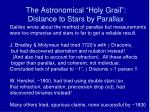 the astronomical holy grail distance to stars by parallax