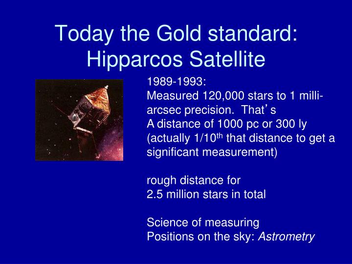 Today the Gold standard: Hipparcos Satellite
