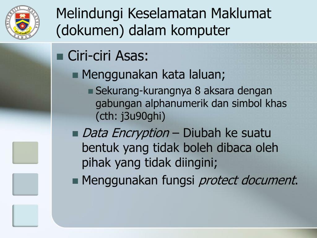 Melindungi Keselamatan Maklumat (dokumen) dalam komputer