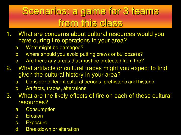 Scenarios: a game for 3 teams from this class
